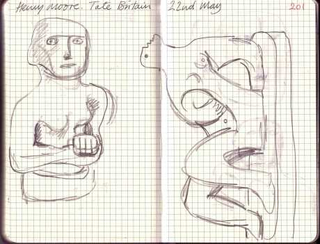 Sketches of Henry Moore Sculptures
